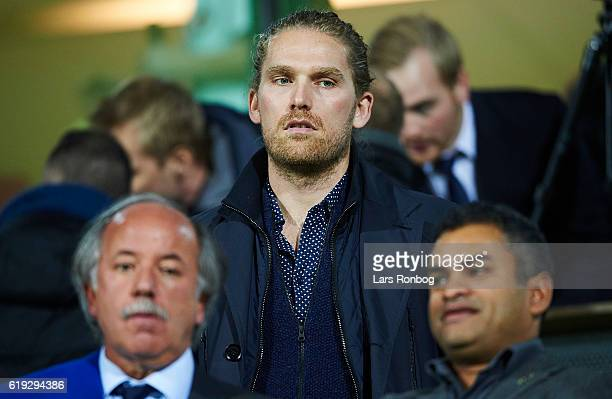 Rasmus Ankersen president of FC Midtjylland looks on prior to the Danish Alka Superliga match between FC Midtjylland and FC Copenhagen at MCH Arena...