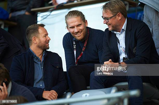 Rasmus Ankersen president of FC Midtjylland speaks to Claus Steinlein sports director of FC Midtjylland looks on prior to the UEFA Europa League...