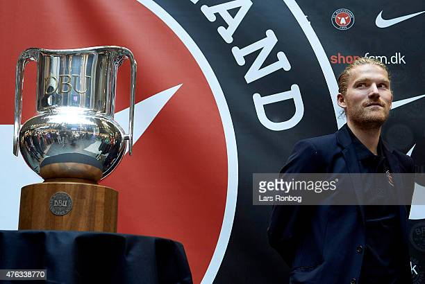 Rasmus Ankersen president of FC Midtjylland stands next to the Alka Superliga Trophy when FC Midtjylland present Nike as new Partner at Herning...