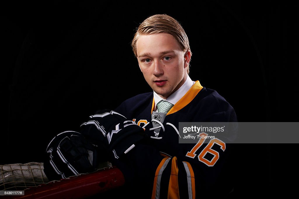 Rasmus Asplund poses for a portrait after being selected 33rd overall by the Buffalo Sabres during the 2016 NHL Draft on June 25, 2016 in Buffalo, New York.