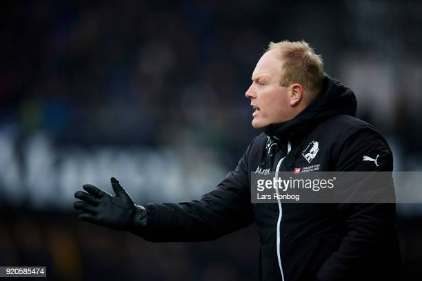 Rasmus Bertelsen head coach of Randers FC gestures during the Danish Alka Superliga match between Randers FC and Hobro IK at BioNutria Park on...