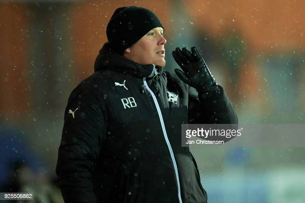 Rasmus Bertelsen head coach of Randers FC gives instructions during the Danish Alka Superliga match between Randers FC and FC Helsingor at BioNutria...