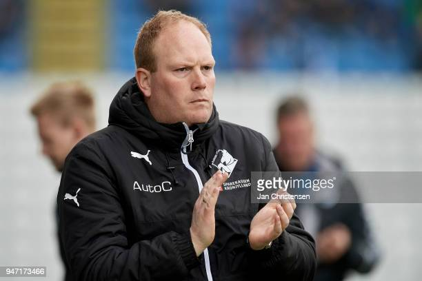 Rasmus Bertelsen head coach of Randers FC in action during the Danish Alka Superliga match between OB Odense and Randers FC at EWII Park on April 15...