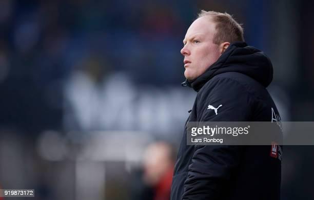 Rasmus Bertelsen head coach of Randers FC looks on during the Danish Alka Superliga match between Randers FC and Hobro IK at BioNutria Park on...