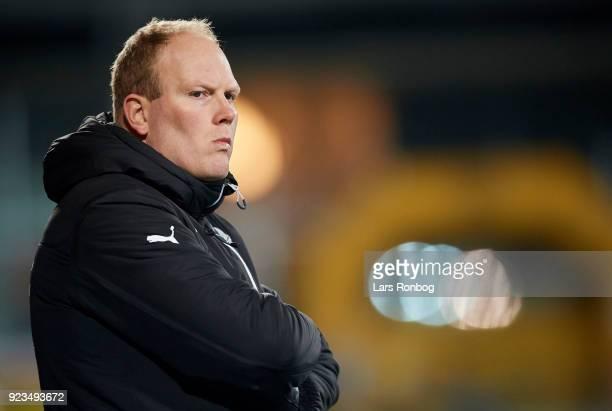 Rasmus Bertelsen head coach of Randers FC looks on during the Danish Alka Superliga match between AC Horsens and Randers FC at CASA Arena Horsens on...