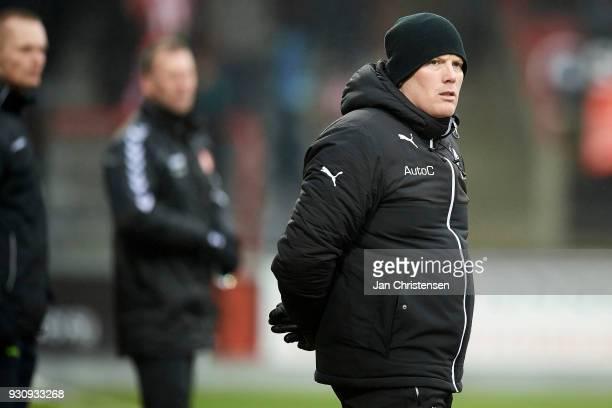 Rasmus Bertelsen head coach of Randers FC looks on during the Danish Alka Superliga match between AaB Aalborg and Randers FC at Aalborg Portland Park...