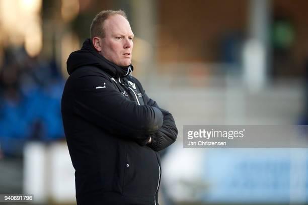 Rasmus Bertelsen head coach of Randers FC looks on during the Danish Alka Superliga match between Randers FC and Lyngby BK at BioNutria Park Randers...