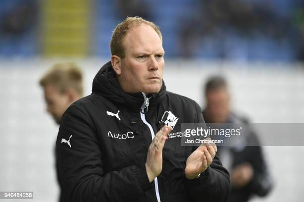Rasmus Bertelsen head coach of Randers FC looks on during the Danish Alka Superliga match between OB Odense and Randers FC at EWII Park on April 15...
