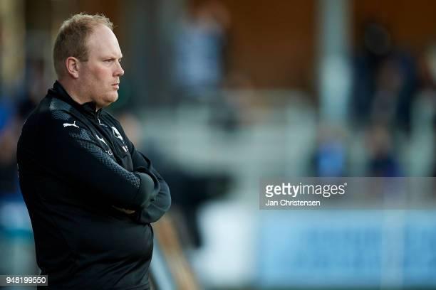 Rasmus Bertelsen head coach of Randers FC looks on during the Danish Alka Superliga match between Randers FC and OB Odense at BioNutria Park Randers...