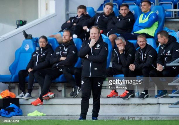 Rasmus Bertelsen head coach of Randers FC looks on during the Danish Alka Superliga match between Randers FC and Sonderjyske at BioNutria Park on...