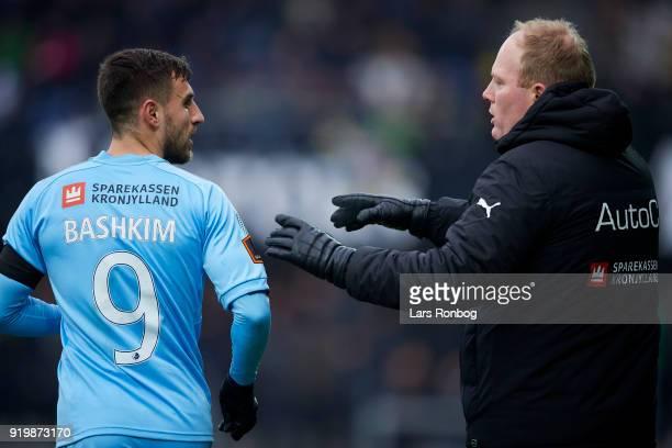 Rasmus Bertelsen head coach of Randers FC speaks to Bashkim Kadrii of Randers FC duirng the Danish Alka Superliga match between Randers FC and Hobro...
