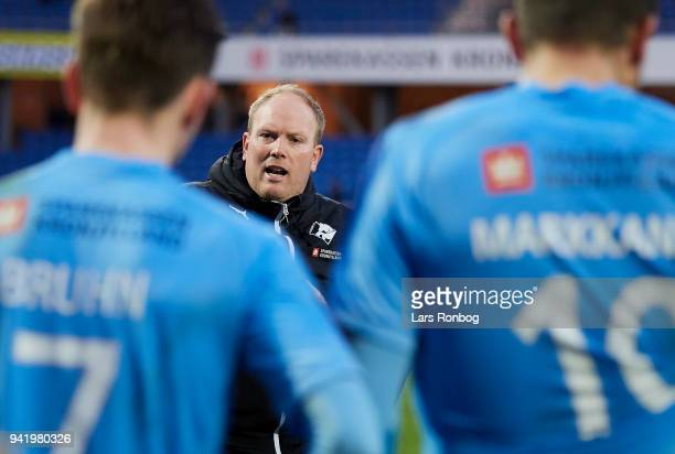 Rasmus Bertelsen head coach of Randers FC speaks to his plays before extra time during the Danish DBU Pokalen Cup quarterfinal match between Randers...