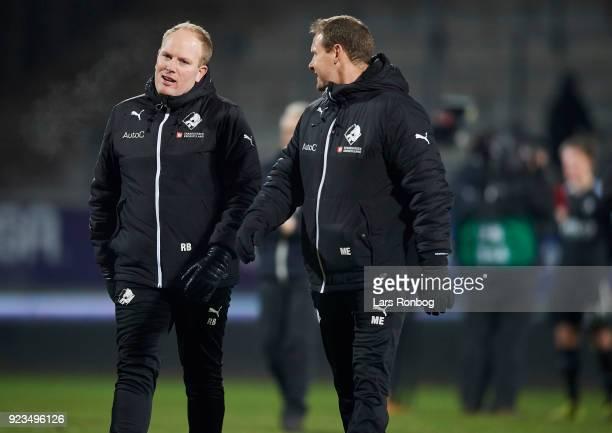 Rasmus Bertelsen head coach of Randers FC speaks to Morten Eskesen assistant coach of Randers FC after the Danish Alka Superliga match between AC...