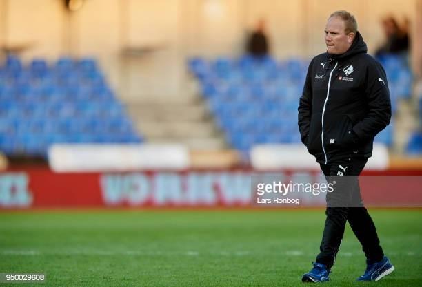 Rasmus Bertelsen head coach of Randers FC walks on the pitch after the Danish Alka Superliga match between Randers FC and Sonderjyske at BioNutria...