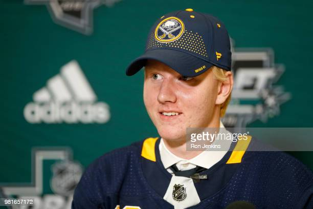 Rasmus Dahlin answers questions from the media after being selected first overall by the Buffalo Sabres during the first round of the 2018 NHL Draft...