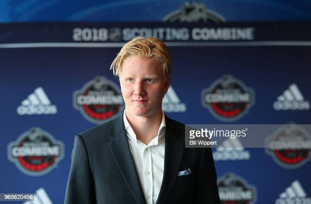 Rasmus Dahlin attends the Top Prospects Media Availability at the NHL Scouting Combine on June 1 2018 at HarborCenter in Buffalo New York