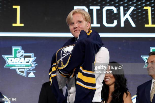 Rasmus Dahlin celebrates after being selected first overall by the Buffalo Sabres during the first round of the 2018 NHL Draft at American Airlines...