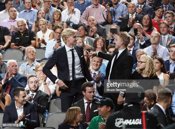 Rasmus Dahlin is selcted first overall by the Buffalo Sabres during the first round of the 2018 NHL Draft at American Airlines Center on June 22 2018...