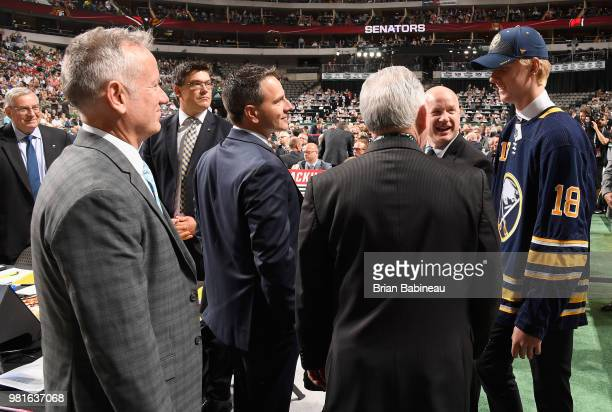 Rasmus Dahlin meets members of the Buffalo Sabres draft team after being selected first overall by the Buffalo Sabres during the first round of the...