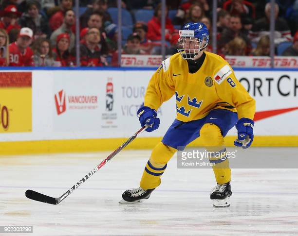 Rasmus Dahlin of Sweden in play against Canada during the Gold medal game of the IIHF World Junior Championship at KeyBank Center on January 5 2018...