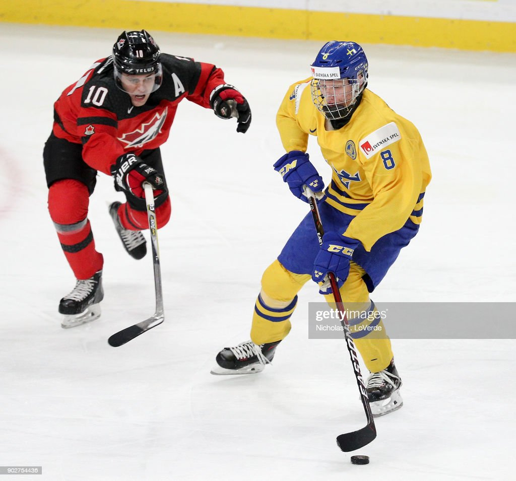 Rasmus Dahlin #8 of Sweden skates the puck past Kale Clague #10 of Canada during the second period of play in the IIHF World Junior Championships Gold Medal game at KeyBank Center on January 5, 2018 in Buffalo, New York.