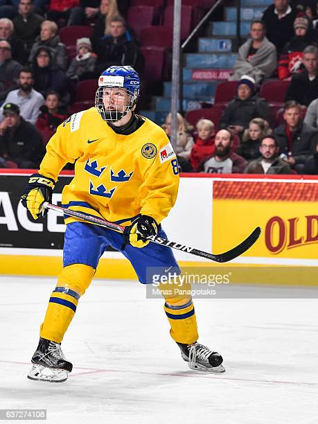 Rasmus Dahlin of Team Sweden skates as he looks on during the 2017 IIHF World Junior Championship preliminary round game against Team Czech Republic...