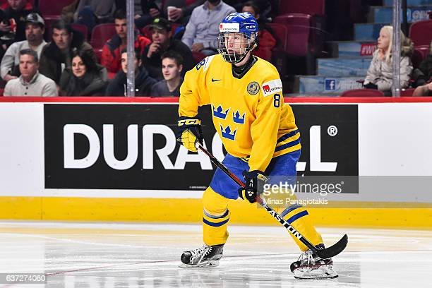 Rasmus Dahlin of Team Sweden skates during the 2017 IIHF World Junior Championship preliminary round game against Team Czech Republic at the Bell...