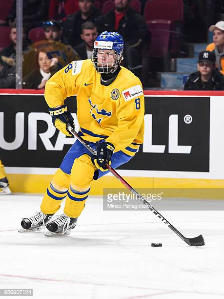 Rasmus Dahlin of Team Sweden skates during the IIHF World Junior Championship preliminary round game against Team Denmark at the Bell Centre on...