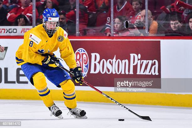Rasmus Dahlin of Team Sweden skates the puck during the 2017 IIHF World Junior Championship bronze medal game against Team Russia at the Bell Centre...