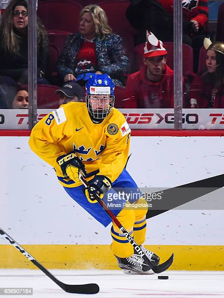 Rasmus Dahlin of Team Sweden skates the puck during the IIHF World Junior Championship preliminary round game against Team Denmark at the Bell Centre...