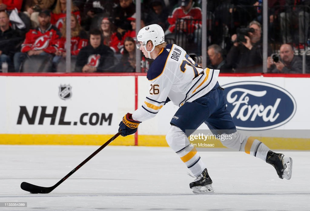 new style 60368 7c4b5 Rasmus Dahlin of the Buffalo Sabres in action against the ...