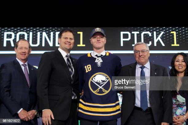 Rasmus Dahlin poses after being selected first overall by the Buffalo Sabres during the first round of the 2018 NHL Draft at American Airlines Center...