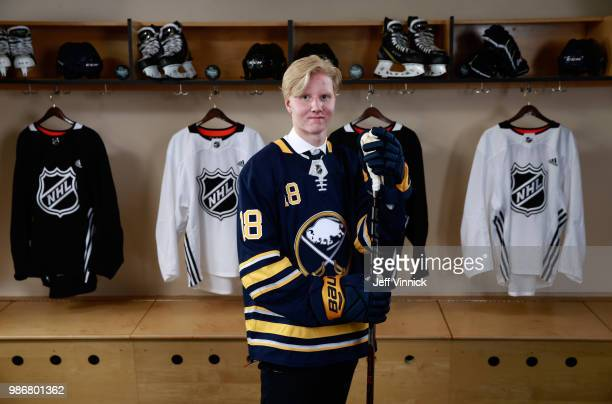 Rasmus Dahlin poses for a portrait after being selected first overall by the Buffalo Sabres during the first round of the 2018 NHL Draft at American...
