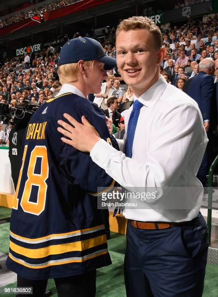 Rasmus Dahlin selected first overall by the Buffalo Sabres congratulates fellow draftee Brady Tkachuk selected fourth overall by the Ottawa Senators...