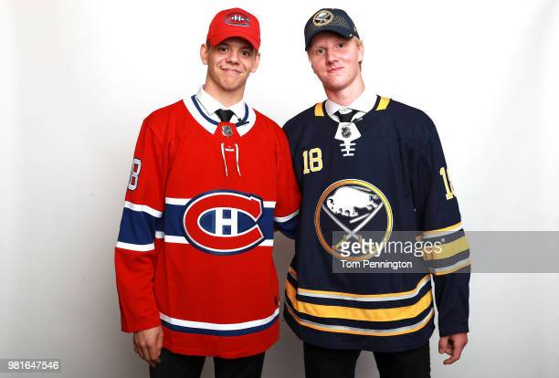 Rasmus Dahlin who was selected first overall by the Buffalo Sabres poses with Jesperi Kotkaniemi who was selected third overall by the Montreal...