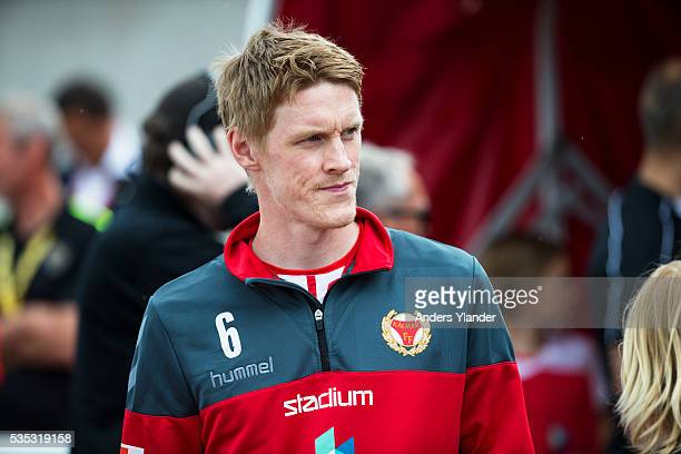 Rasmus Elm of Kalmar FF entering the pitch during the Allsvenskan match between Falkenbergs FF andKalmar FF at Falkenbergs IP on May 29 2016 in...