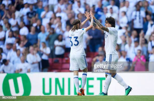 Rasmus Falk and Federico Santander of FC Copenhagen celebrates after scoring their first goal during the Danish Alka Superliga Europa League Playoff...