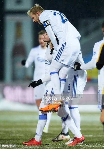 Rasmus Falk and Nicolai Boilesen of FC Copenhagen celebrate after scoring their second goal during the Danish Alka Superliga match between Hobro IK...