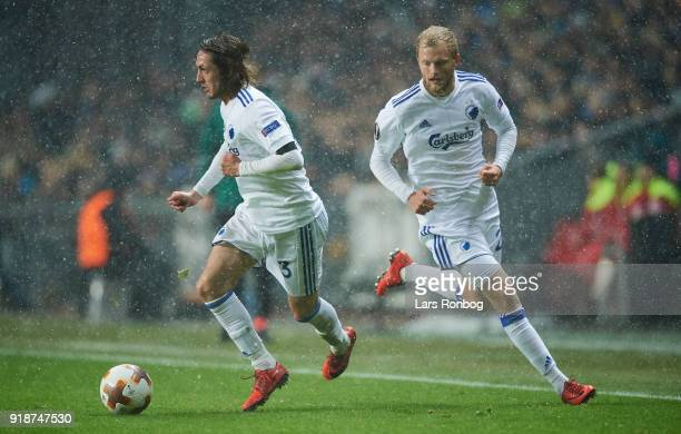 Rasmus Falk and Nicolai Boilesen of FC Copenhagen in action during the UEFA Europa League round of 32 1 leg match between FC Copenhagen and Atletico...