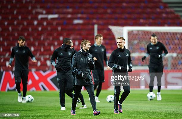 Rasmus Falk and Peter Ankersen of FC Copenhagen in action during the FC Copenhagen training and press conference ahead of the UEFA Champions League...