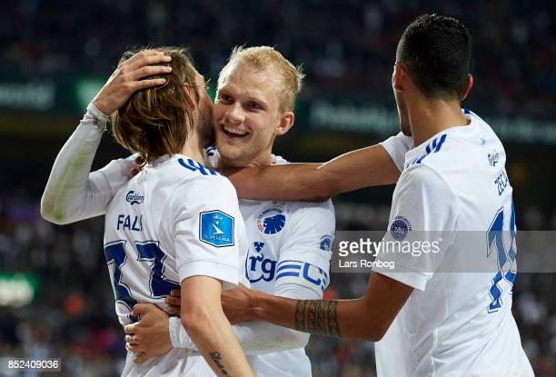 Rasmus Falk Carlos Zeca and Nicolai Boilesen of FC Copenhagen celebrate after scoring their fourth goal during the Danish Alka Superliga match...