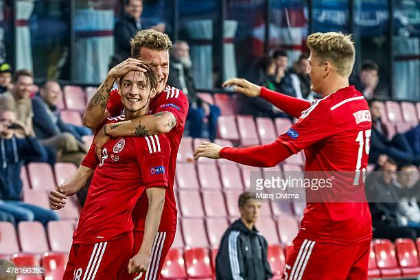 Rasmus Falk of Denmark celebrates goal with his teammate during UEFA U21 European Championship Group A match between Denmark and Serbia at Letna...