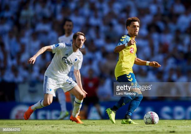 Rasmus Falk of FC Copenhagen and Hany Mukhtar of Brondby IF compete for the ball during the Danish Alka Superliga match between FC Copenhagen and...