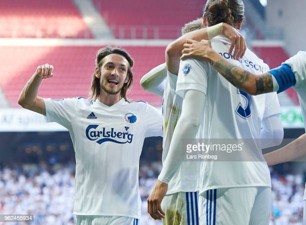 Rasmus Falk of FC Copenhagen celebrates after scoring their second goal during the Danish Alka Superliga Europa League Playoff match between FC...