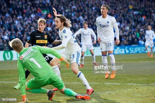 Rasmus Falk of FC Copenhagen scores the 11 goal against Goalkeeper Runar Alex Runarsson of FC Nordsjælland during the Danish Alka Superliga match...