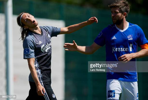 Rasmus Falk of FC Copenhagen shows frustration during the friendly match between FC Copenhagen and Lyngby Boldklub at KB's baner on June 27 2018 in...