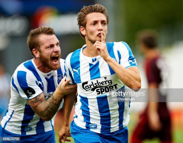 Rasmus Falk of OB Odense celebrate after his goal 10 goal during the danish Superliga match between OB Odense and AaB Aalborg at TREFOR Park on...