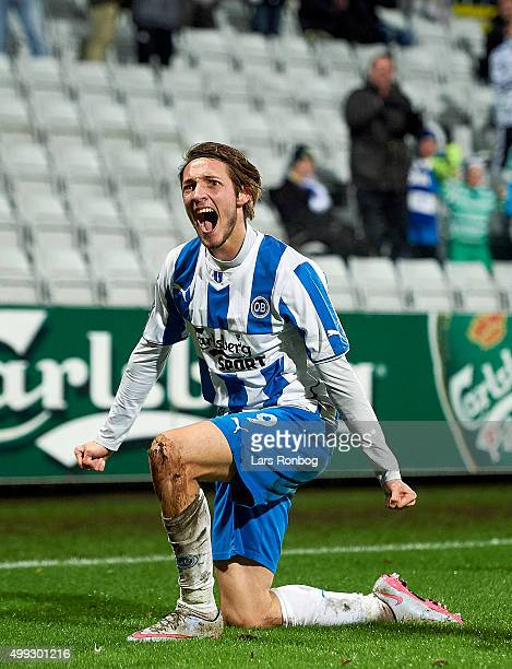 Rasmus Falk of OB Odense celebrates after the 21 goal against Goalkeeper Martin Dubravka of Esbjerg fB during the Danish Alka Superliga match between...