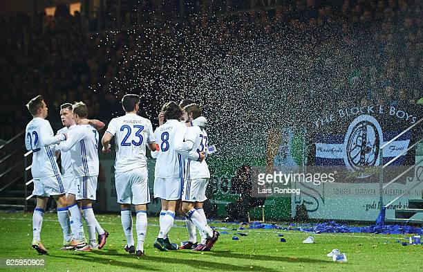 Rasmus Falk Peter Ankersen Benjamin Verbic and Youssef Toutouh of FC Copenhagen celebrate after scoring their first goal during the Danish Alka...