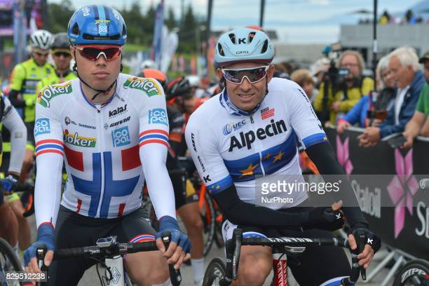 Rasmus Fossum Tiller and Alexander Kristoff at the start line of the opening stage the 1565km from Engenes to Narvik during the Arctic Race of Norway...